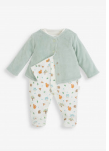 Reversible velour jacket & sleepsuit set