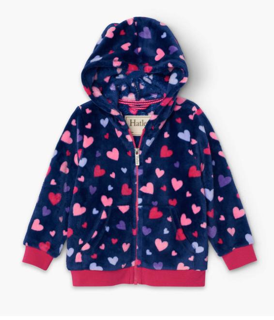 Confetti Hearts Fuzzy Fleece Hooded Jacket