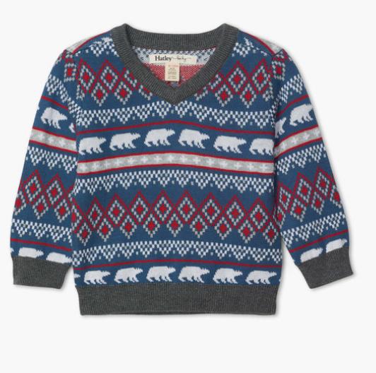 Fair Isle Polar Bears V-Neck Sweater