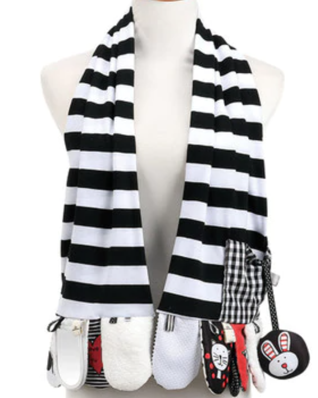Mommy & Me Activity scarf blk & wht