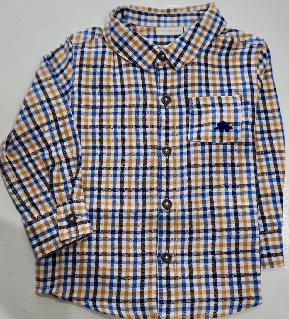 check shirt navy/mustard
