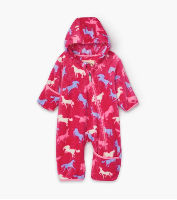 Horse silhouettes Fuzzy Fleece Baby Bundler