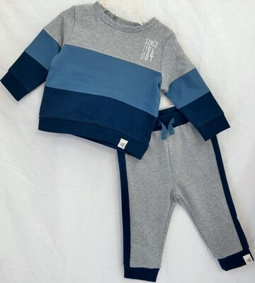 French terry color blocked sweatshirt & pant set