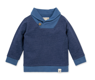 French Terry shawl collar sweatshirt huckleberry