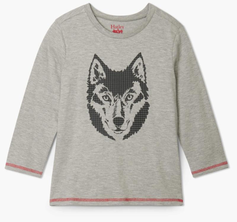Wolf Long Sleeve Tee grey
