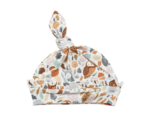 autumn owls ruffle knotted hat