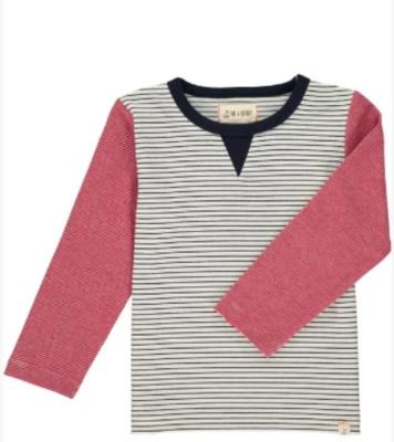 white stripe/red stripe sleeved tee