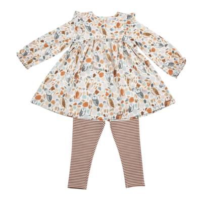 Autumn Owls ruffle sleeve dress & leggings set