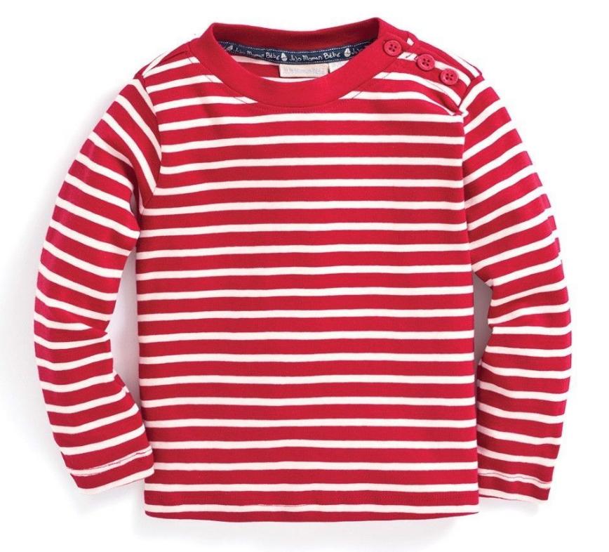 Breton top red/ecru stripe