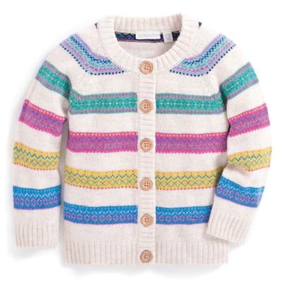 Jojo washable cashmere nordic stripe cardigan