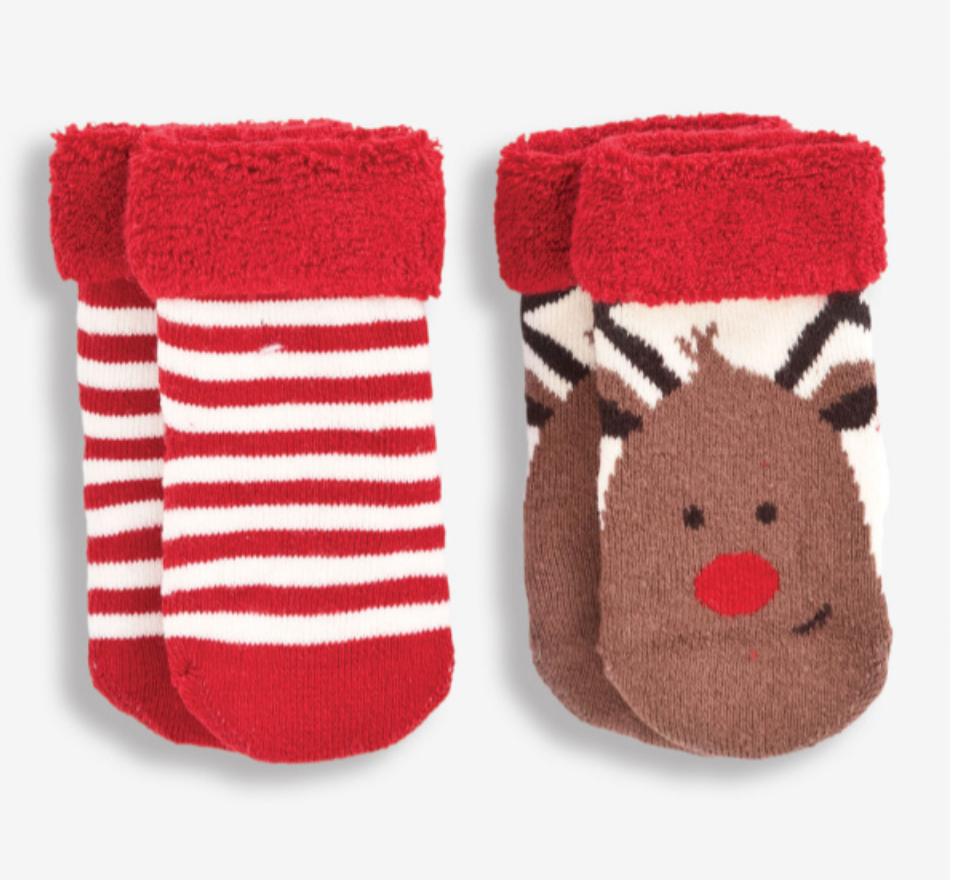cozy holiday socks 0-6 mos.