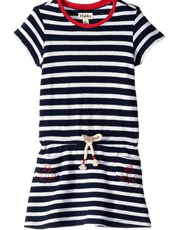 Nautical Stripes Pique Drop Waist Dress