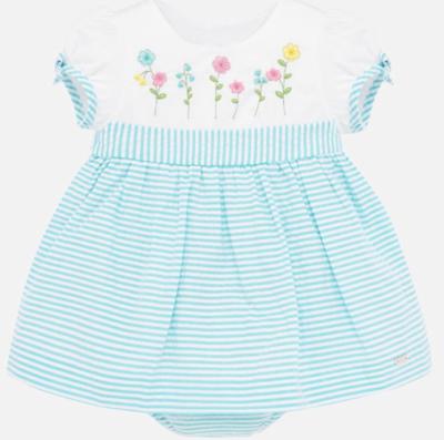 Seersucker Stripes Dress Turquoise