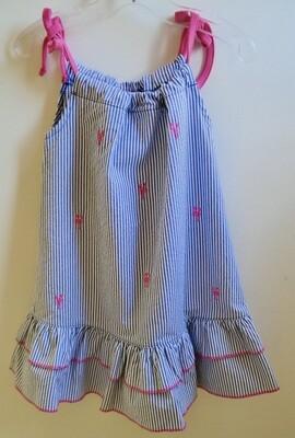 seersucker pink lobster dress - 3T