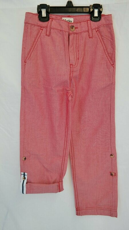 Red chambray Roll up Pants
