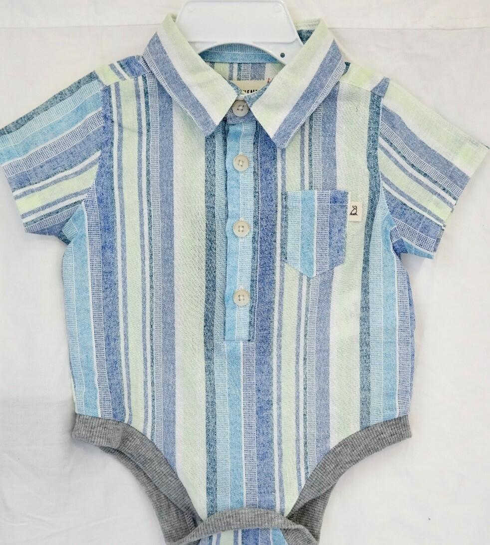 Blue/green stripe woven bodysuit