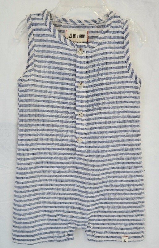 Blue/white stripe sleeveless romper 6-12mos