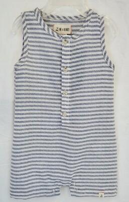 Blue/white stripe sleeveless romper 6-12mos