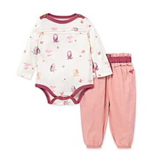 Owls & Leaves Bodysuit & slouchy pant set