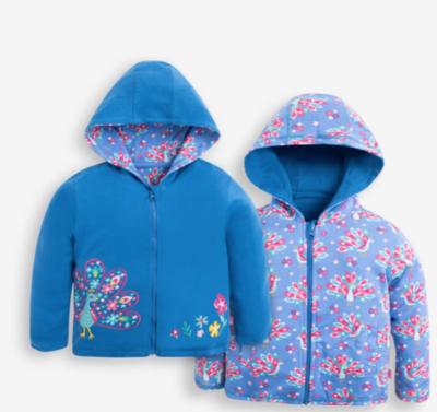 Peacock print reversible hoodie