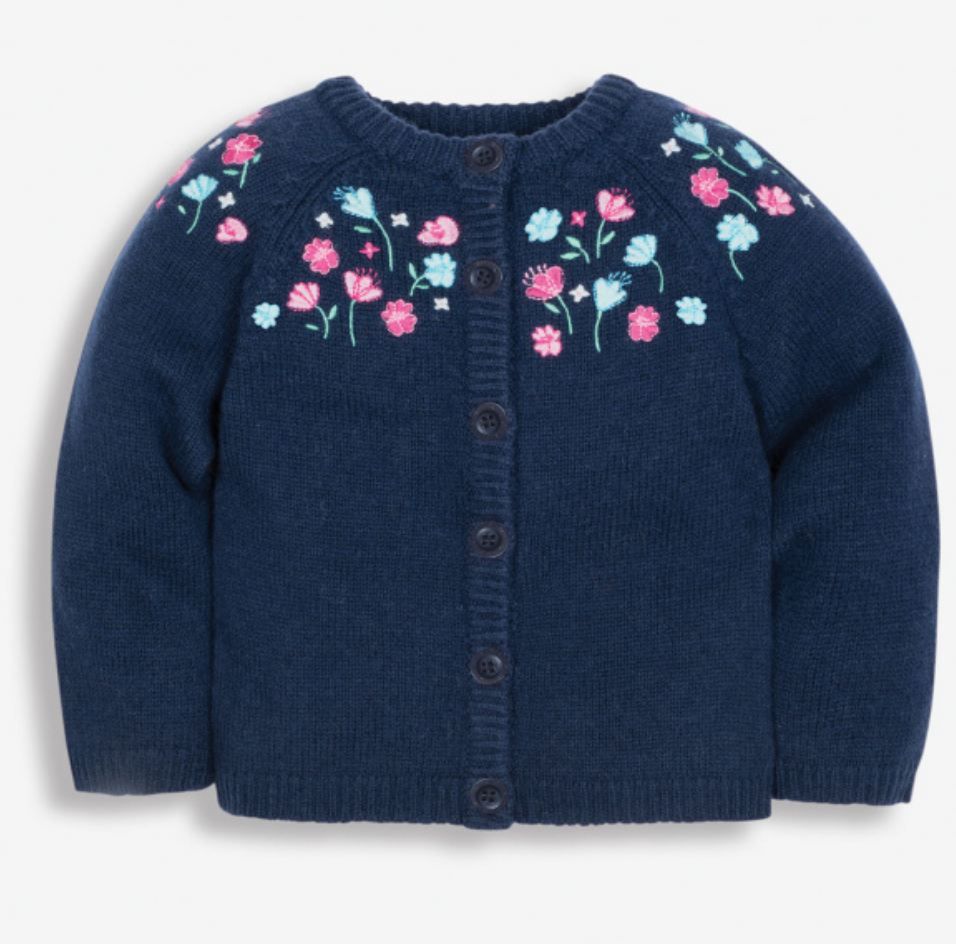 Pretty embroidered cardigan navy