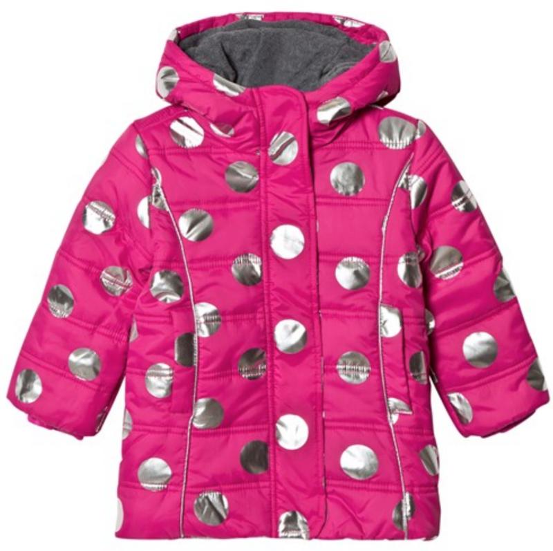 metallic Dots Fleece Lined Puffer Coat