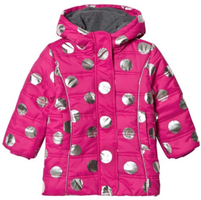 metallic Dots Fleece Lined Puffer Coat