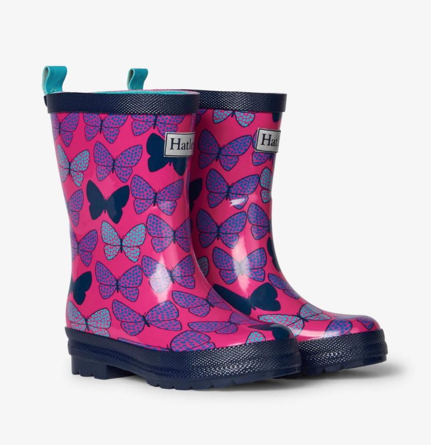 rain boots - spotted butterflies 4