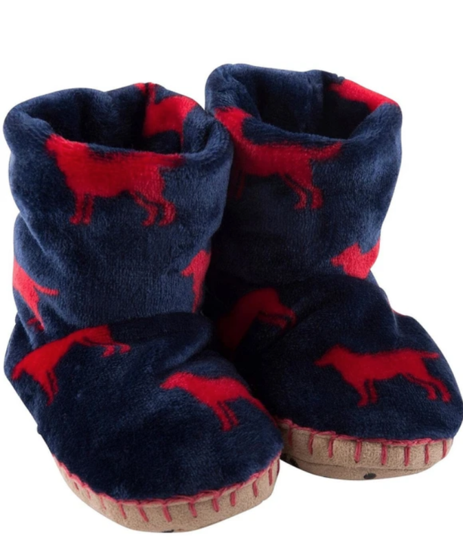 Red Lab fleece slippers md