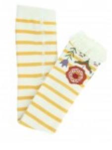 Golden Yellow/Ivory Stripe Footless Ruffle Tights