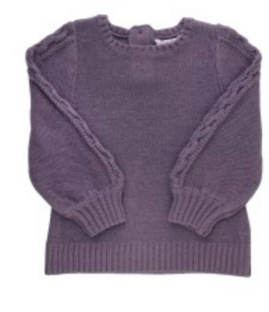 Shadow Purple Cable Bishop Sleeve Sweater
