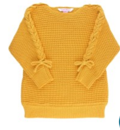 Golden Yellow Lace-Up Tunic Sweater