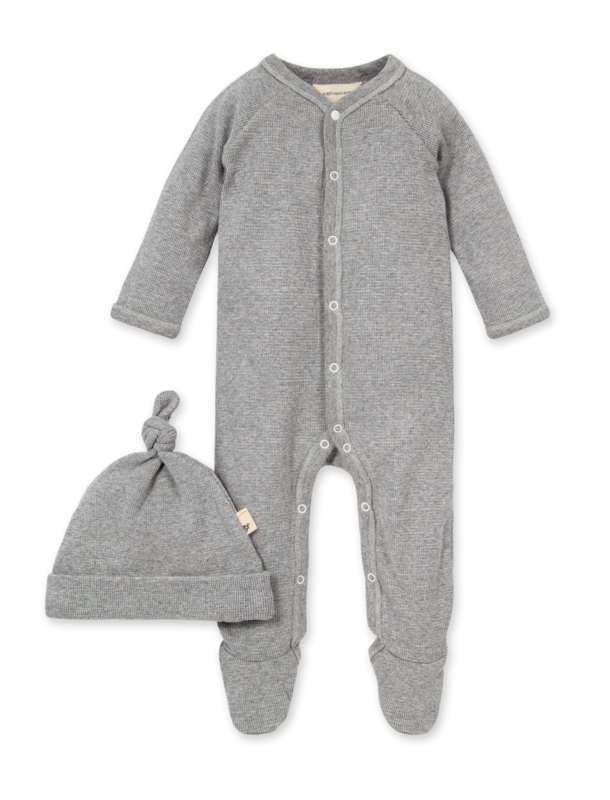 Thermal Footed Jumpsuit & knotted hat set grey