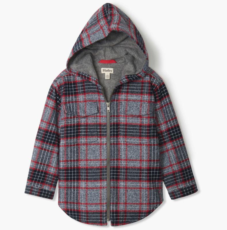 Winter Plaid Woven Full Zip Hoodie