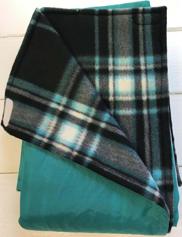 Maine River Otter Blanket 12C-Aqua/Black&Blue Plaid