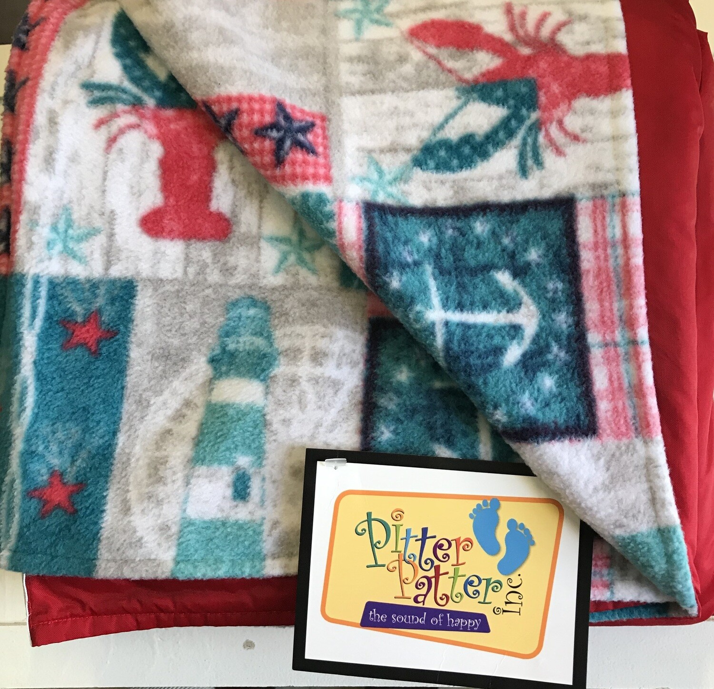 Pitt Patt Blanket 12F- Red/Seashore Lobster
