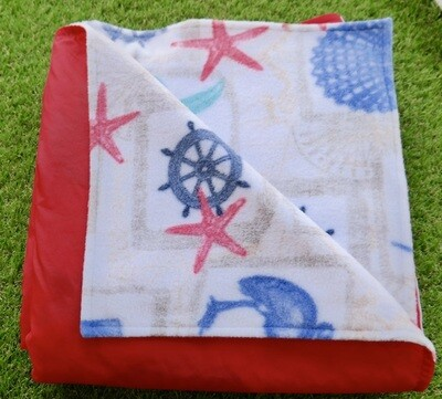 Maine River Otter Blanket 9F- Red/Nautical