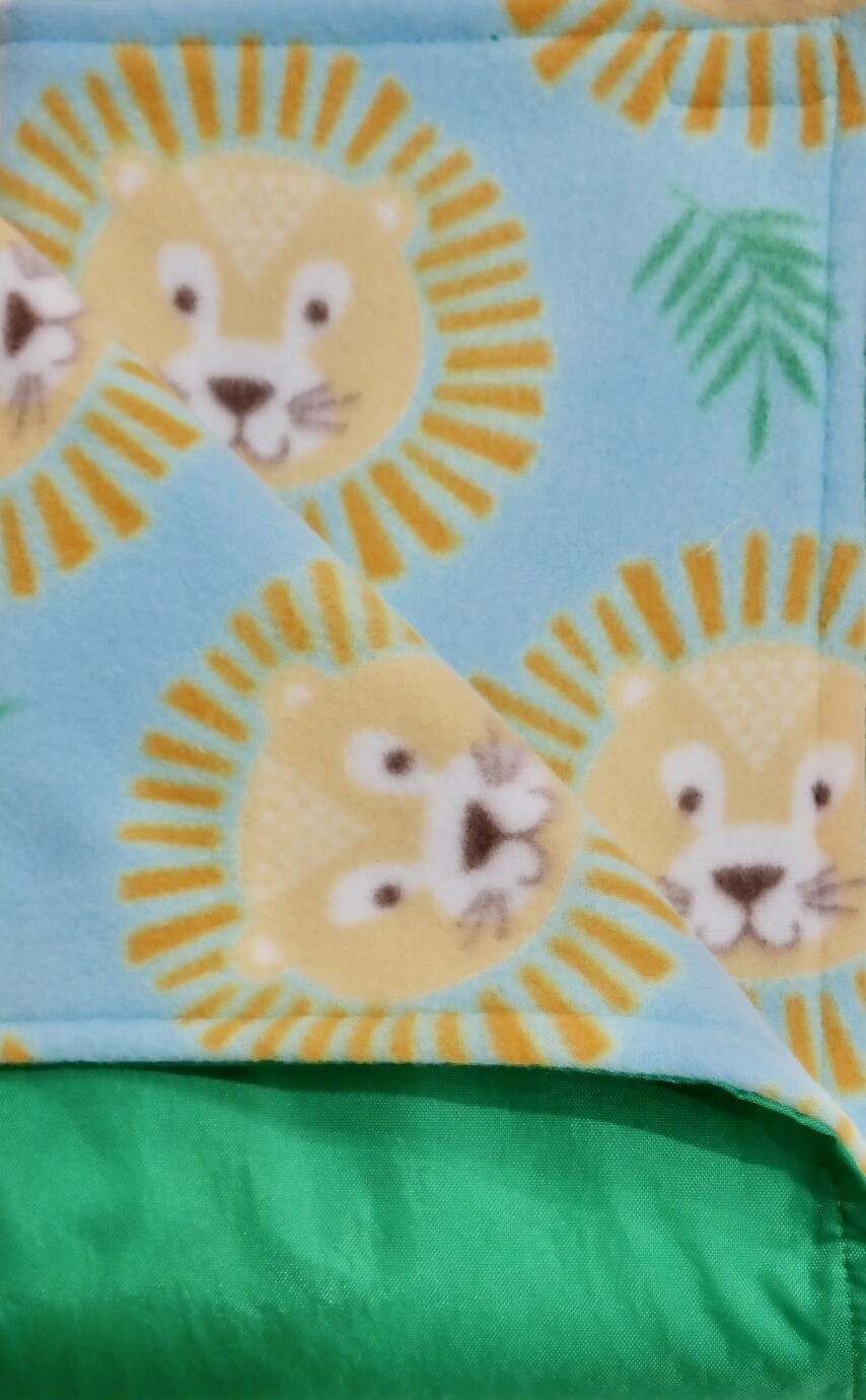 Maine River Otter Blanket 37C- Bright Green/Lions
