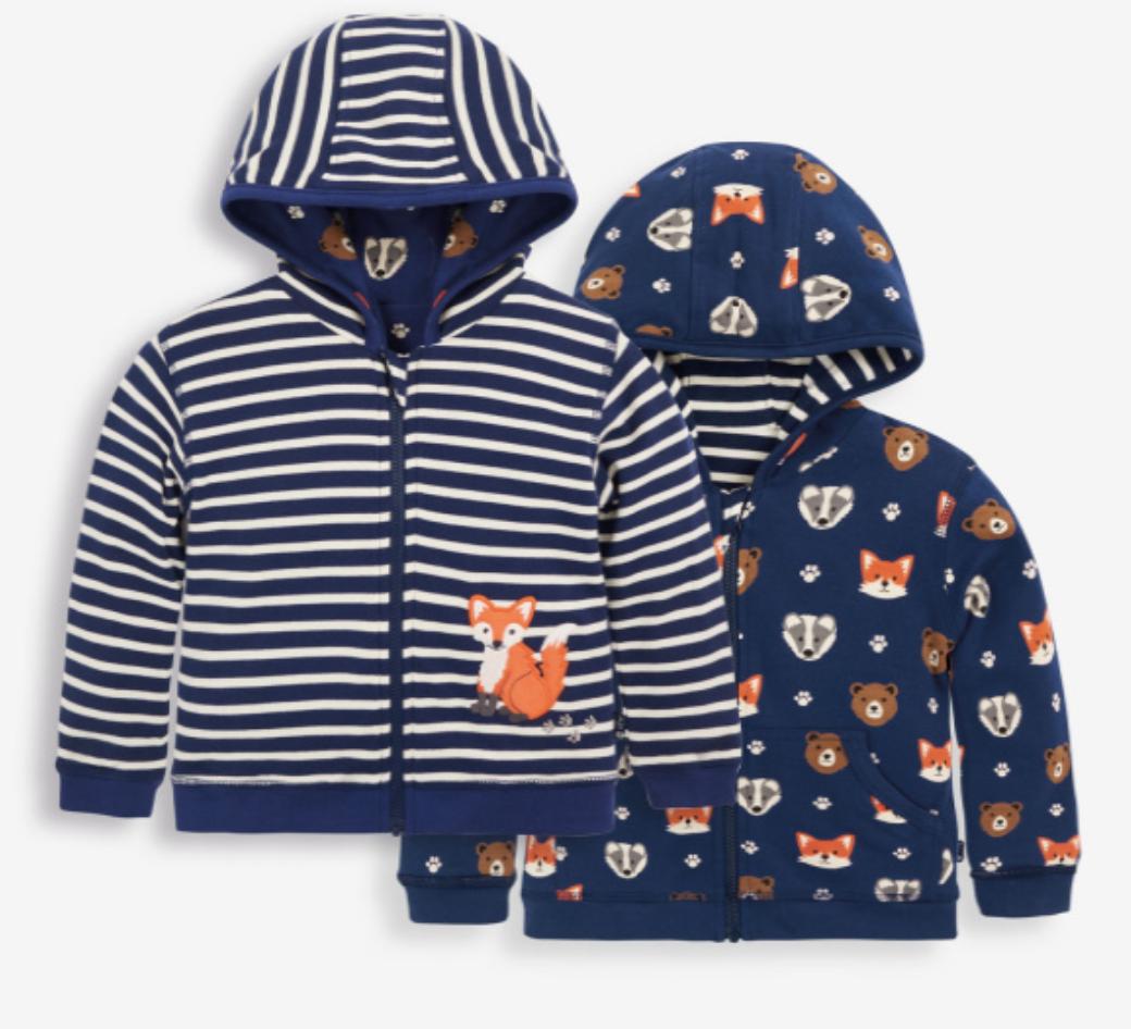 woodland print reversible hoodie