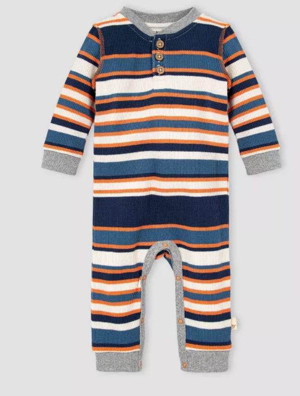 Thermal multi stripe  henley jumpsuit