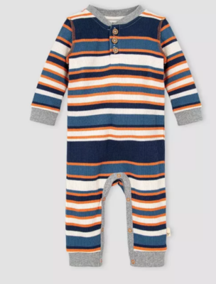 Thermal multi stripe  henley jumpsuit