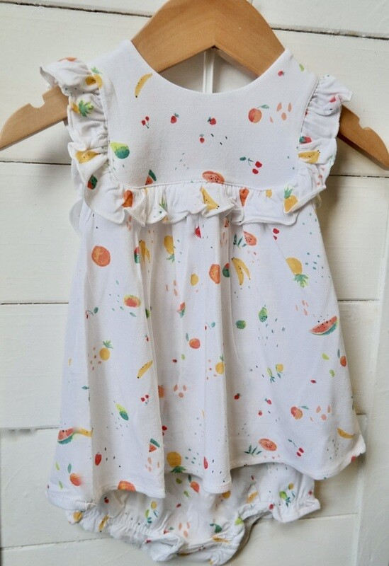 Ditsy Fruit Ruffle Top and bloomer set