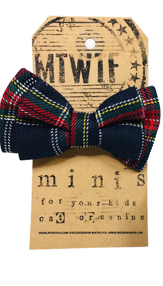 MTWTF Navy Plaid Bow