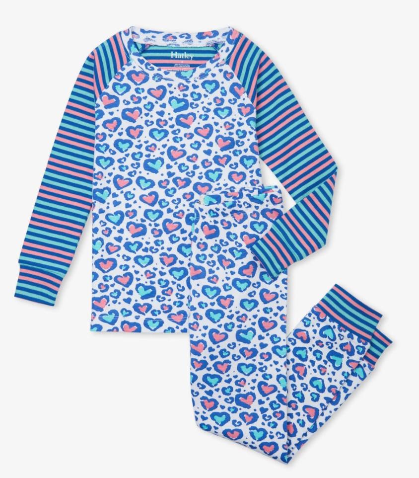 Cheetah hearts organic pajamas set
