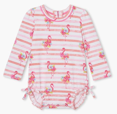 Floral Flamingos Baby Rashguard Swimsuit