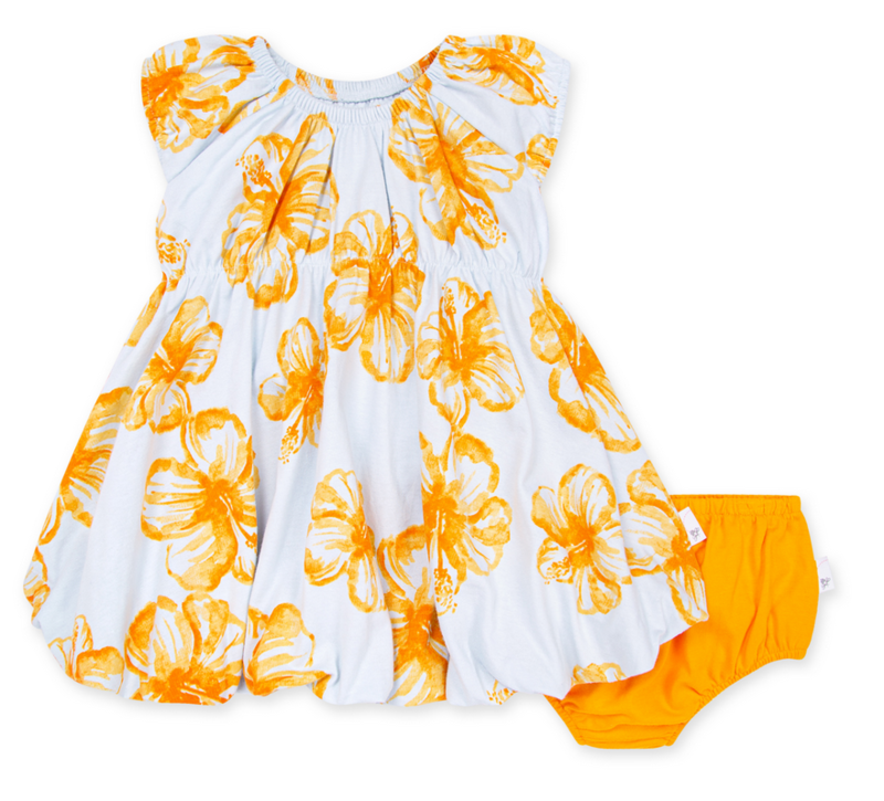 Floating Hibiscus Bubble Dress & Diaper Cover
