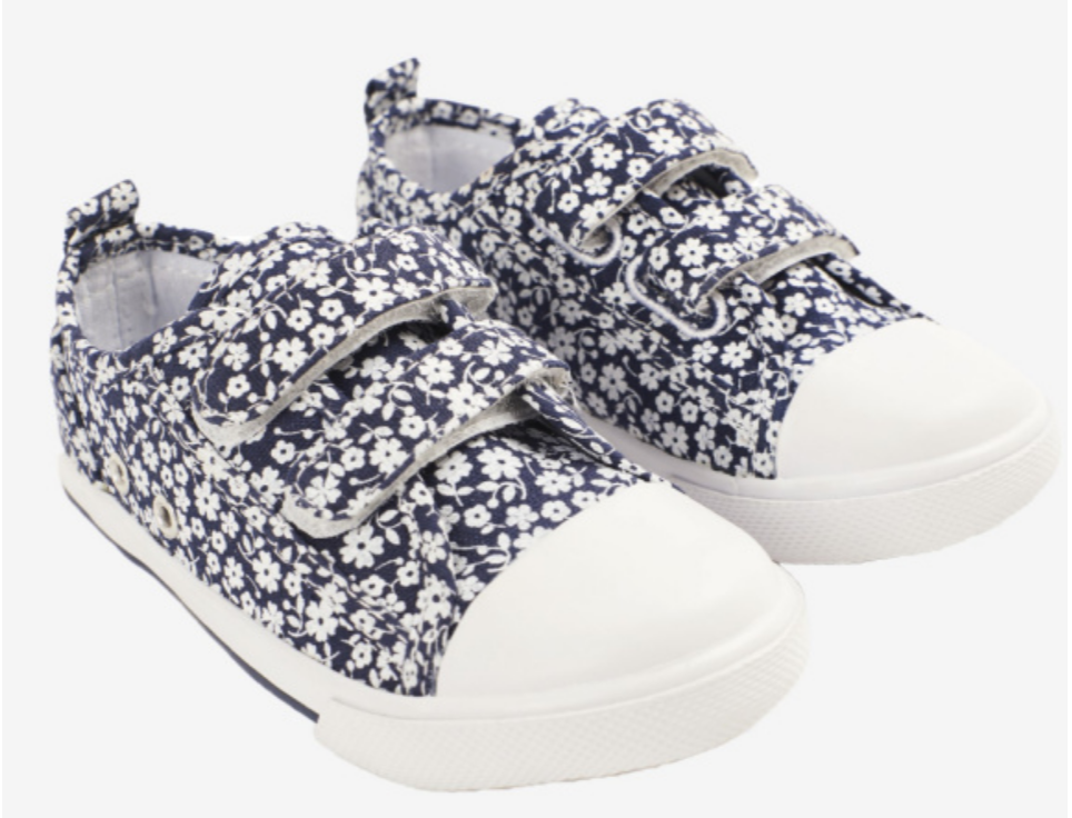 Navy floral sneakers size 5