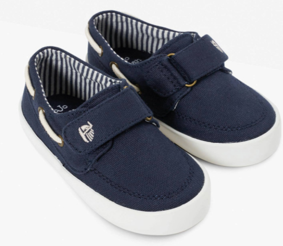 navy canvas boat shoes size 5