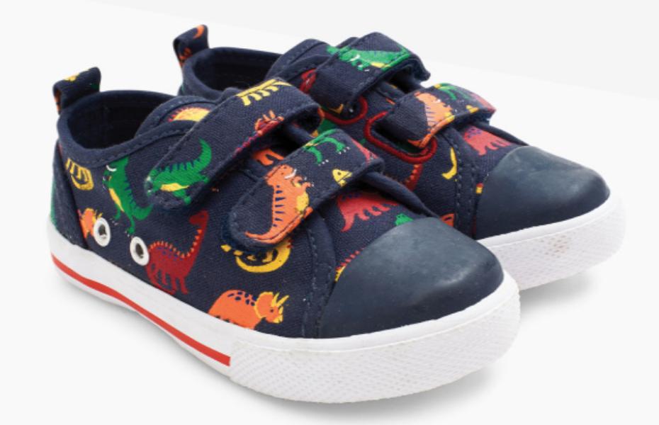 navy dinosaur canvas sneaker size 5