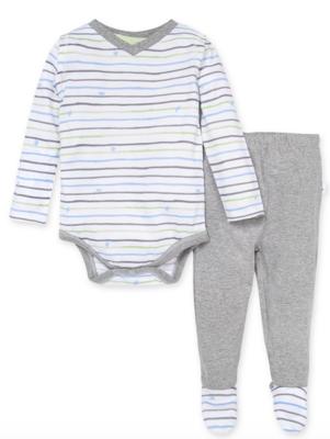 Watercolor Bee Stripe Bodysuit &Footed Pant Set